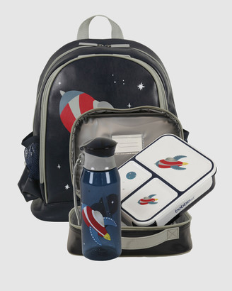 Bobbleart Large Backpack Lunch Bag Bento Box and Drink Bottle Rocket