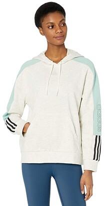 adidas Color-Block Linear Hoodie (Black/Hazy Rose/White) Women's Clothing
