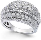 Macy's Diamond Multi-Row Ring in Sterling Silver (2 ct. t.w.)