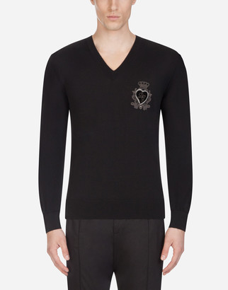 Dolce & Gabbana V-Neck Wool Knit With Patch