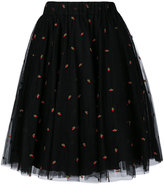 P.A.R.O.S.H. cherry embroidered tulle gathered skirt