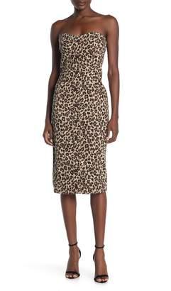 Veronica Beard Liza Leopard Strapless Denim Midi Dress (Regular & Plus Size)