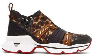 Christian Louboutin 123 Run Studded Neoprene Trainers - Womens - Leopard