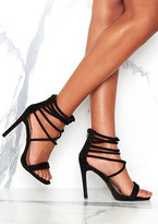 Missy Empire Cece Black Strappy Open Toe Heels