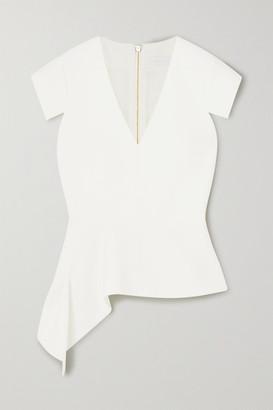 Roland Mouret Breen Asymmetric Stretch-crepe Peplum Top - White