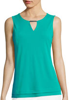 Liz Claiborne Metal Bar Layered Knit Tank Top - Tall