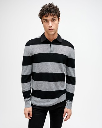 7 For All Mankind Rugby Sweater in Grey/Black Stripe