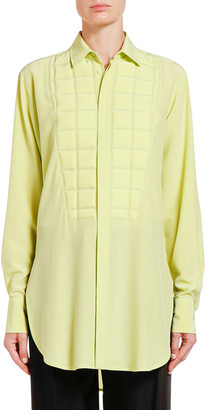 Bottega Veneta Square-Bibbed Silk Button-Front Shirt