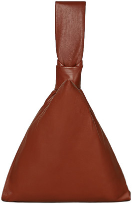 Bottega Veneta Leather Knot Bag in Rust & Gold   FWRD