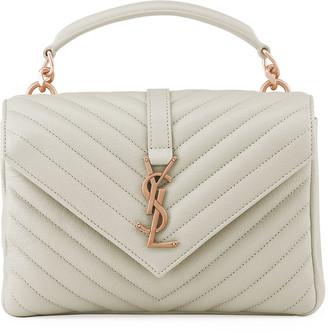 College Medium YSL Matelasse Lambskin V-Flap Crossbody Bag with Golden Hardware
