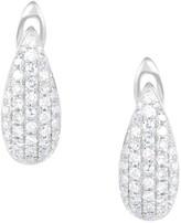Saks Fifth Avenue 14K White Gold Diamond Shield Huggie Earrings