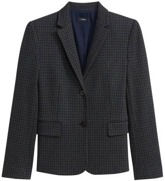 Theory Houndstooth Knit Shrunken Jacket