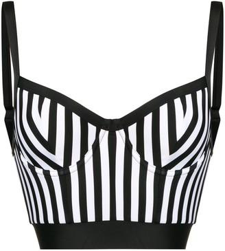 Balmain striped longline bikini top