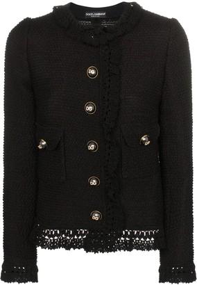 Dolce & Gabbana Crystal Logo Boucle Jacket