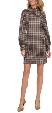 Calvin Klein Ponte-Knit Plaid Mock-Neck Dress