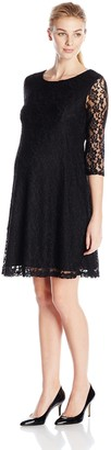 Three Seasons Maternity Women's 3/4 Sleeve Lace Skater Dress