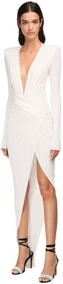 Alexandre Vauthier V Neck Draped Stretch Jersey Long Dress