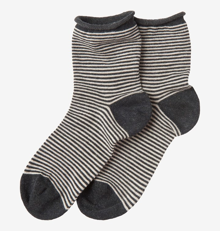 Toast Fine Stripe Cotton Cashmere Socks