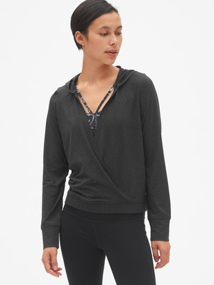 Gap GapFit Wrap-Front Pullover Hoodie in Brushed Tech Jersey