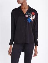 Sandro Hoxton bird embroidered satin shirt