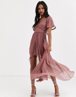 Asos Design DESIGN maxi dress with ladder lace trims and dip hem