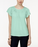 Style&Co. Style & Co Style & Co Petite Pleated-Neck Top, Created for Macy's
