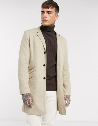 ONLY & SONS smart jersey overcoat in sand