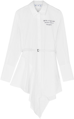 Off-White White Asymmetric Poplin Shirt Dress
