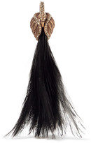 Lanvin Gold-plated, Swarovski Crystal And Feather Clip Earring - Black