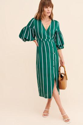 Steele Meyer Stripe Wrap Midi Dress