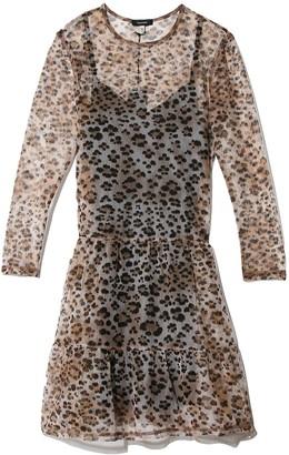 R 13 Mesh Long Sleeve Babydoll Dress in Leopard