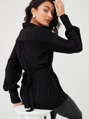 Very Button Through Tie Back Blouse - Black