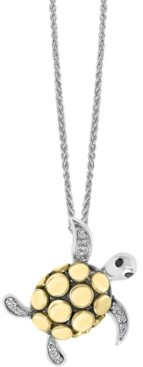 "Effy Diamond Sea Turtle 18"" Pendant Necklace (1/20 ct. t.w.) in Sterling Silver & 18k Gold-Plate"