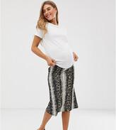 Mama Licious Mama.Licious Mamalicious maternity jersey snake print midi skirt