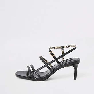 River Island Black caged skinny heel sandals