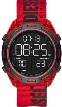 Diesel Men's Digital Crusher Red Nylon Strap Watch 46mm