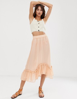 Only sheer check midi skirt with ruffle hem-White
