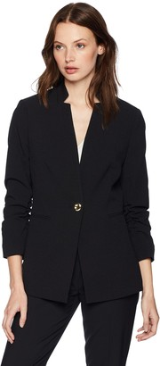 Tahari by Arthur S. Levine Women's Crepe One Button Starneck Rouched Sleeve Jacket