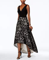 Xscape Evenings Burnout-Pattern High-Low Gown