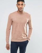 Asos Crew Neck Sweater in Beige Twist Cotton