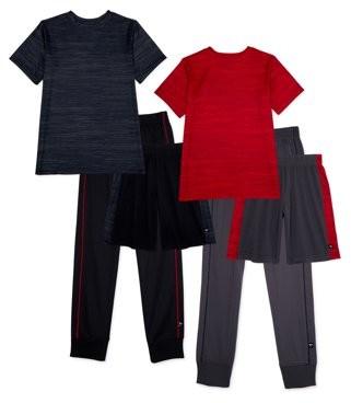 Cheetah Boys Mesh Shorts, Tricot Joggers, Performance T-Shirts, 6-Piece Athletic Set, Sizes 2T-18