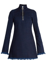 Marques Almeida MARQUES'ALMEIDA High-neck frayed-edge denim mini dress