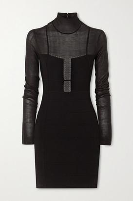 Herve Leger Jersey-paneled Bandage Turtleneck Mini Dress - Black