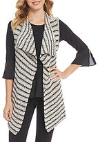 Jones New York Drape Front Stripe Sweater Vest