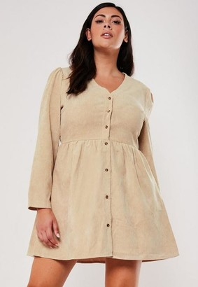 Missguided Plus Size Tan Cord Button Down Smock Dress