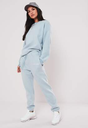 Missguided Petite Blue Co Ord Slogan Brushed Joggers