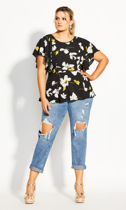 City Chic Crepe Floral Top - black