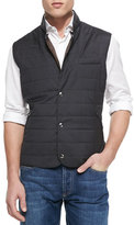 Brunello Cucinelli Wool/Silk Snap Fitted Vest, Gray