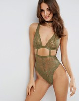 Asos Gia High Apex Lace Cut Out Bodysuit