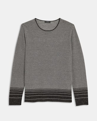 Theory Crewneck Sweater in Striped Linen Blend